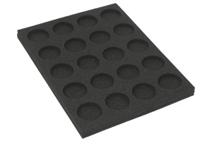 Tray for storing 20 miniatures on 40mm