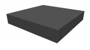 Raster foam tray of increased density 50mm deep for board game boxes