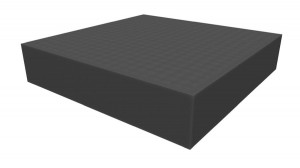 Raster foam tray of increased density 60mm deep for board game boxes