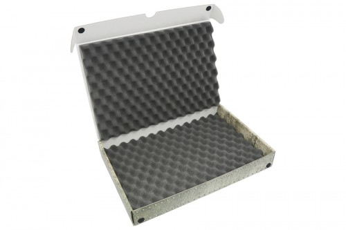 Standard box with convoluted foam trays.