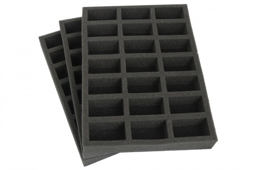Set of traditional foam trays .
